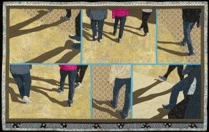 There are multiple images of legs, feet, and shadows.