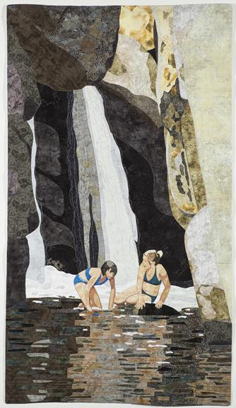Two Girls Swimming Under a Waterfall Applique Art