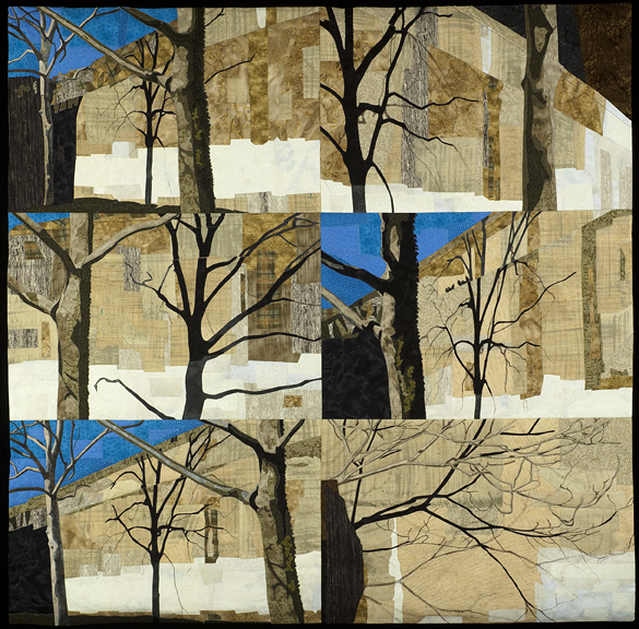 I combined six images of a wall with winter tree shadows.
